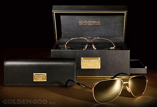 Солнцезащитные очки из золота Dolce & Gabbana Aviator
